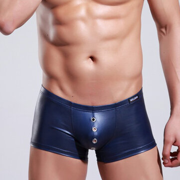 Sexy Faux Leather PU Boxer Briefs for Men