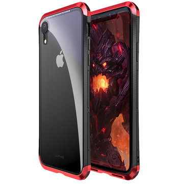 Luphie Protective Case For iPhone XR Metal Bumper+9H Clear Tempered Glass Back Shell