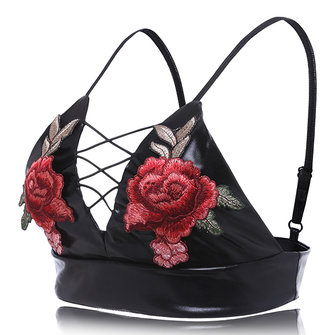 Flower Embroidery Plunge Hollow Out Sexy Trendy Bra