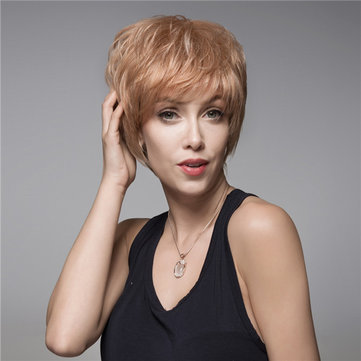 Short Capless Human Hair Wig Remy Virgin Mono Top Side Bang 14 Colors to Choose