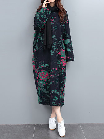 Vintage Printing Winter Long Sleeve Thick Loose Robe Dress