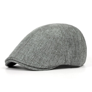 Unisex Mens Vintage 65% Polyester 35% Cotton Beret Hats Casual Solid Color Forward Caps