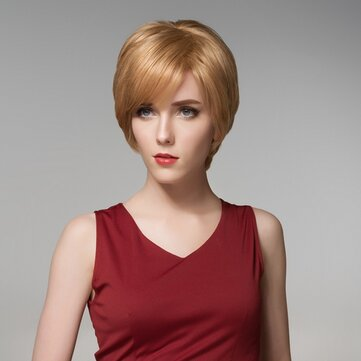 12 Colors Straight Short Side Bang Human Hair Wig Virgin Remy Mono Top Capless