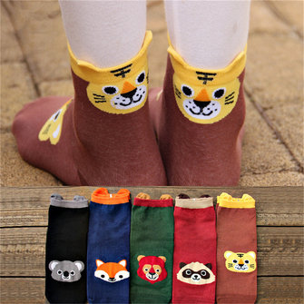 1 Pair Women Ladies Cute Cartoon Socks Animal Cotton Stereo Hosiery