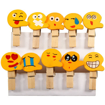 10 Pcs Cute Expression Mini Wooden Pegs Clothespin Clothes Photo Paper Craft Clips Decor
