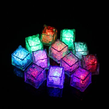 12pcs Romantic Waterproof Colorful Light Up LED Ice Cubes Liquid Sensor Party Bar Wedding Night Lamp