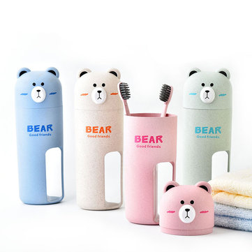 Honana Cute Bear Wheat Straw Portable 4 Color Options Toothbrush Organizer Travel Washing Cup Set 2 Toothbrushes Incuded