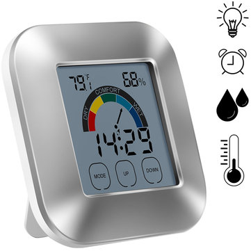 Indoor Thermometer Hygrometer Timer Clock Smart Digital Temperature Humidity Tester Backlight with Touch Screen