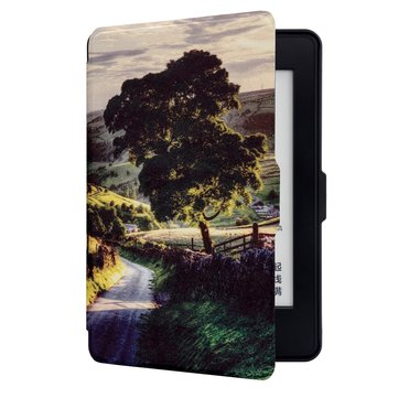 ABS Plastic Sunset Village Painted Smart Sleep Protective Cover Case For Kindle Paperwhite 1/2/3 eBook Reader