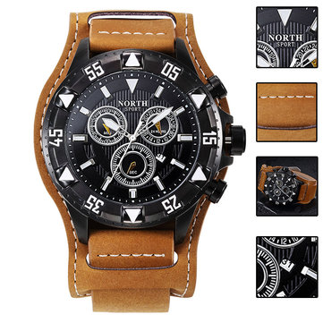 NORTH 7002 Men Watch Big Number Simple Leather Strap Sport Quartz Wrist Watch