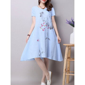 Vintage Women Print Loose Short Sleeve Dresses