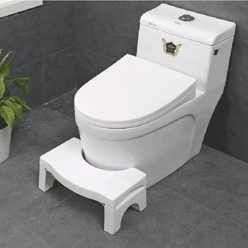 Non-slip Toilet Foot Stool White Folding Ergonomic Homeuse Removable Plastic Toilet Auxiliary Stool