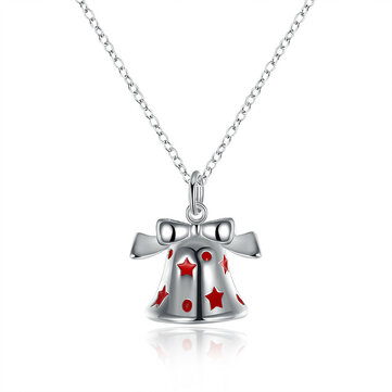 Christmas Bell Enamel Process Gift Party Necklaces