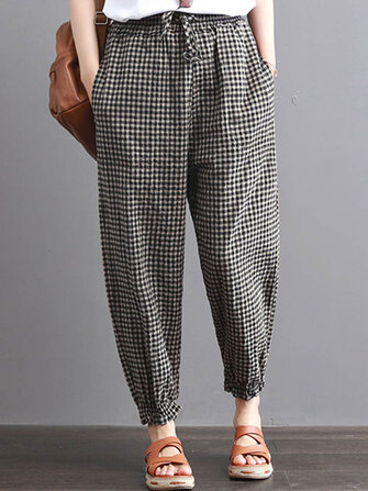 S-5XL Women Casual High Drawstring Waist Plaid Check Long Harem Pants