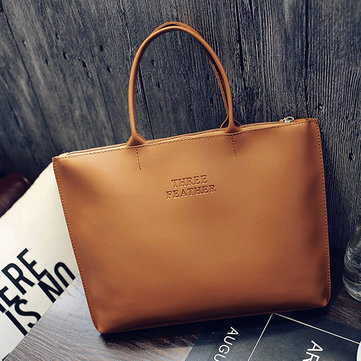 Simple Pure Color Retro PU Handbags For Women