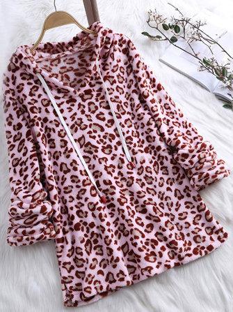 Women Retro Fleece Leopard Print Hooded Long Sleeve Sweatshirt
