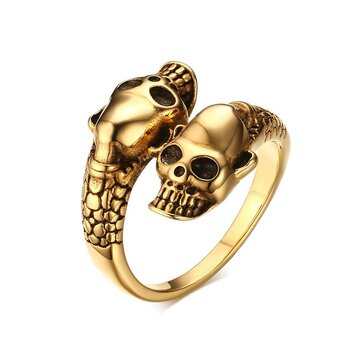 Halloween Cool Stainless Steel Skull Head Ring Punk Men Jewelry Finger Ring for Men