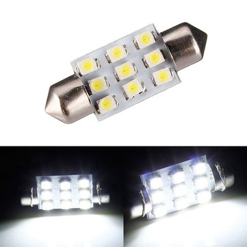 38mm 9 SMD LEDS 1W Xenon White Interior Light Number Plate Festoon Bulb