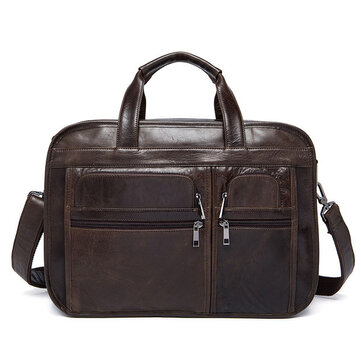 Men Genuine Leather 3 Main Bags Laptop Messenge