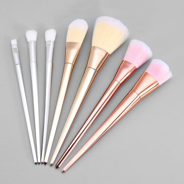 7Pcs Makeup Brushes Set Electroplating Rod