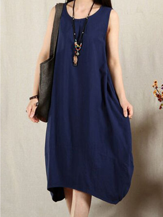 Women Loose Sleeveless O-neck Retro Solid Dress