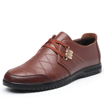 Men Casual Shoes Leather Low Top Outdoor Lace Up Fashion Flats Oxfords