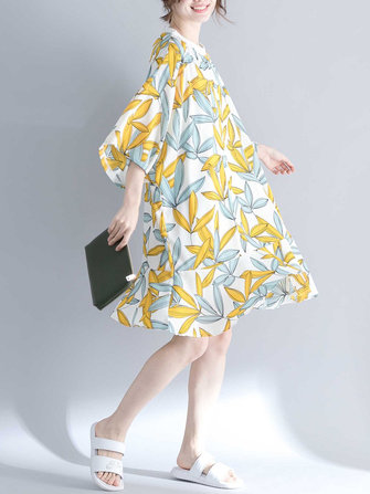 Women Fashion Leaves Print O-neck Half Sleeves Dress