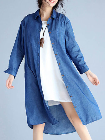 S-5XL Women Pocket Denim Shirt