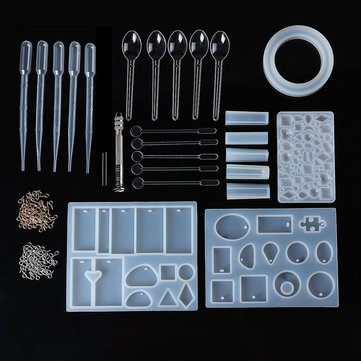 27Pcs DIY Craft Tools Kit Silicone Crystal Mold Making Jewelry Pendant Resin Casting
