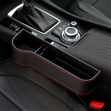 PU Leather Left Side Car Seat Crevice Gap Storage Box Pocket Organizer Phone Holder