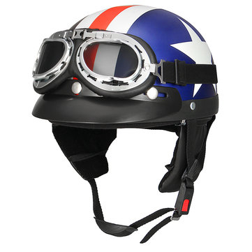 Retro White Star Motorcycle Half Face Helmet Biker Scooter With Sun Visor UV Goggles Cafe Racer