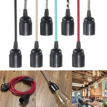 E27 2M Fabric Cable UK Plug In Pendant Lamp Light Set Fitting Vintage Bulb Holder Socket