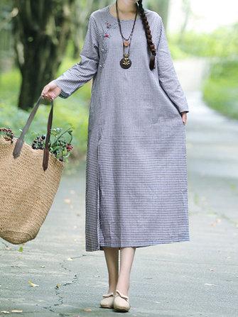 Vintage Plaid Round Neck A-line Long Sleeve Maxi Dress
