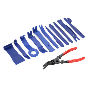 12pcs Radio Door Clip Molding Trim Plier Dash Panel Audio Removal Tools Kit