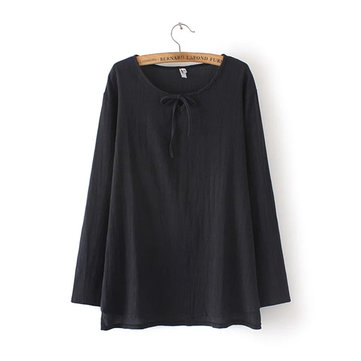 Brief Women Solid Round Neck Long Sleeve Loose Tops