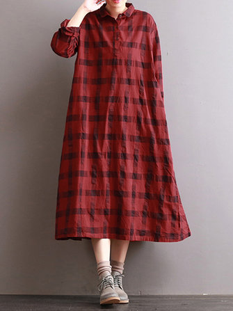 Casual Loose Plaid Turn-Down Collar Long Sleeve Women Shirt Dresses