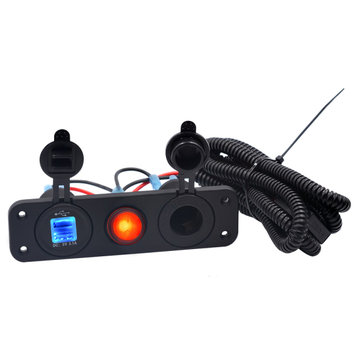5V 3.1A LED Dual USB Charger 12-24V Socket Power Supply Waterproof Switch Panel Marine Car Boat