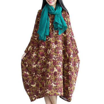 Vintage Women Printing Floral Long Sleeve Loose Dress