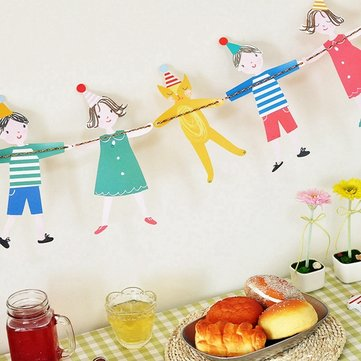 Cartoon Paper Wedding Party Shower Banner Bunting Flag Garland Hanging Decor