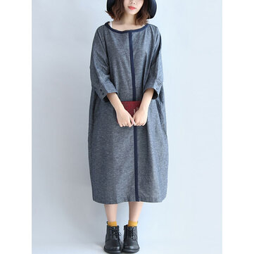 Casual Loose Women Button Pocket Long Sleeve O-Neck Patchwork Straight Dress