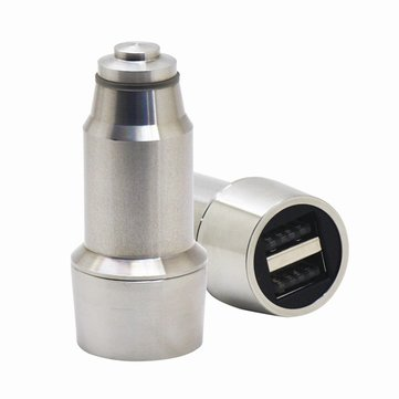 YHB5V31-03 DC5V 3.1A Two USB Port Stainless Steel Car Charger