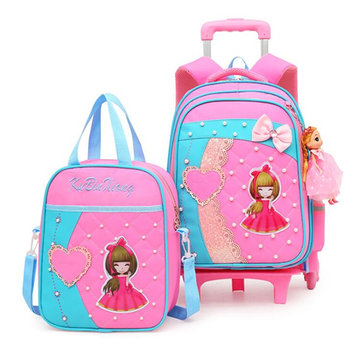 2 Pcs Trolley Backpack Children School Bag Luggage Bag Handbag Camping Suitcases With Six Wheel
