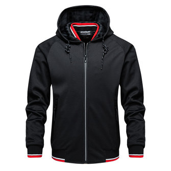 Mens Contrast Color Stylish Drawstring Zipper Up Outdoor Sports Casual Hooded Jacket