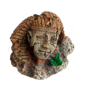 Yani Fish Tank Decor Exotic Environments Ancient Realistic Stone Head Ruin Aquarium Ornament