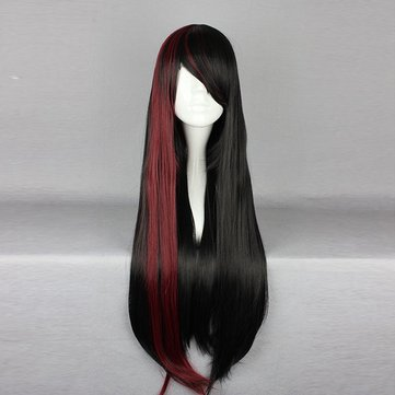 75cm Mix Black Red Two Tone Harajuku High Temperature Heat Friendly Synthetic Costume Cosplay Wig