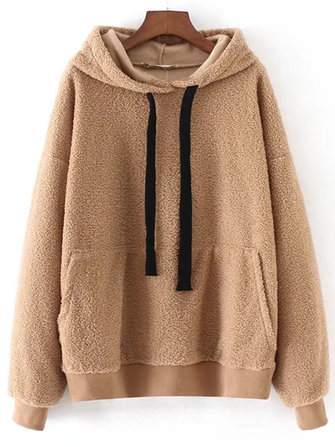 Women Long Sleeve Solid Color Pullovers Hooded Sweatshirt