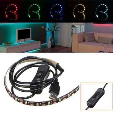 30CM SMD3528 LED Flexible Strip Tape Light USB Switch Lamp PC TV Background Lighting DC5V