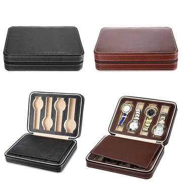 8 Grids Watch Display Storage Box Case Zippered Travel Watch Box