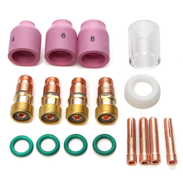 17Pcs WP17/18/26 2.4mm 3/32inch TIG Stubby Gas Lens Ceramic Nozzle & Pyrex Cup Kit