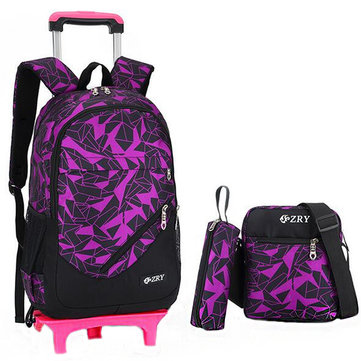 28L 3 Pcs Kids Trolley Backpack Pencil Bag Shoulder Bag Travel Camping Trolley Case With Wheels